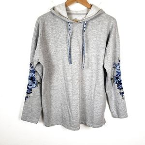 St Johns Bay | Gray Embroidered Hoodie Sweatshirt